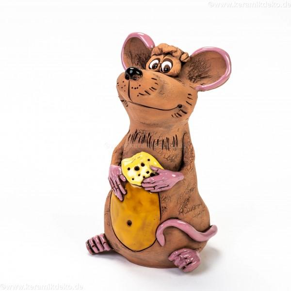 Gartenstecker Maus mit Käse