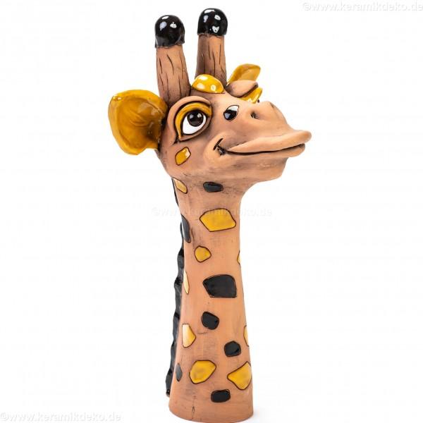Gartenstecker Giraffenkopf mit schwarzen Flecken