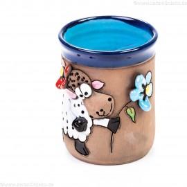 Keramiktasse Blau mit Schaf und Blumen (3)