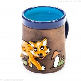 Keramiktasse mit Fuchs und Pilz