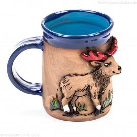 Keramiktasse blau mit Hirsch