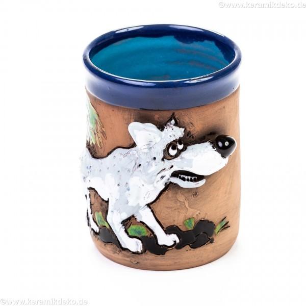 Keramiktasse mit Wolf