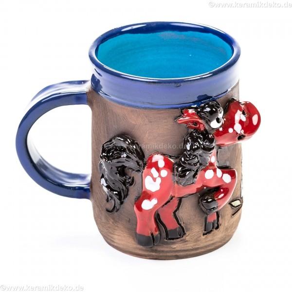 Keramiktasse mit rotem Pferd