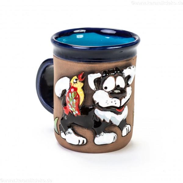 Keramiktasse mit Katze und Vogel