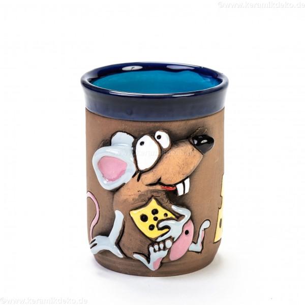Keramiktasse mit Maus und Käse