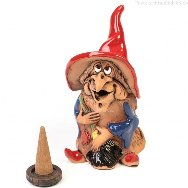 Keramikfigur Hexe mit Besen