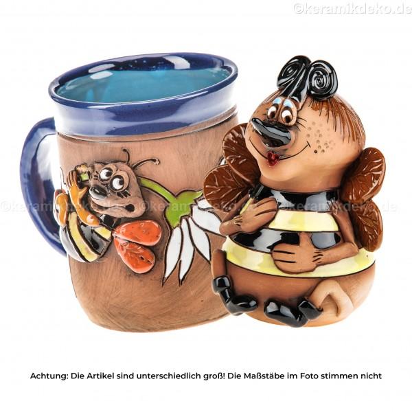 Keramikset 5 (2-tlg.): Gartenstecker und Tasse mit Biene