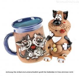 Keramikset 7 (2-tlg.): Motivtasse und Gartenstecker Katze