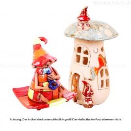 Keramikset 10 (2-tlg.): Räucherfigur und Teelichthaus