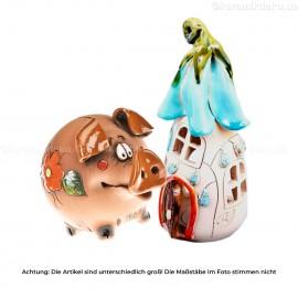 Keramikset 12 (2-tlg.): Großes Sparschwein und Teelichthaus