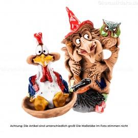 Keramikset 13 (2-tlg.): Gartenstecker Hexe und Keramikfigur Hahn