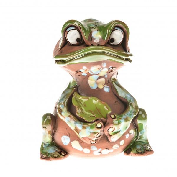 Spardose Frosch mit einem Blatt