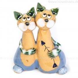 Keramik Minifigur - Katzenpärchen - gemischte Farben