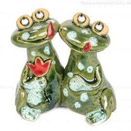 Frosch-Pärchen mit Blume. Minifigur