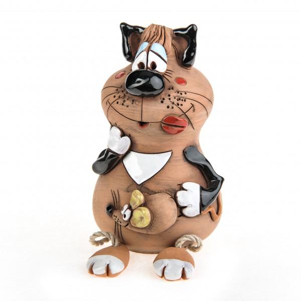 Spardose mit Füssen, Katze mit einer Maus – Größe L
