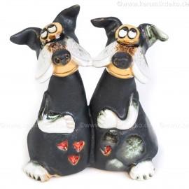 Hunde-Pärchen. Minifigur, bunt.