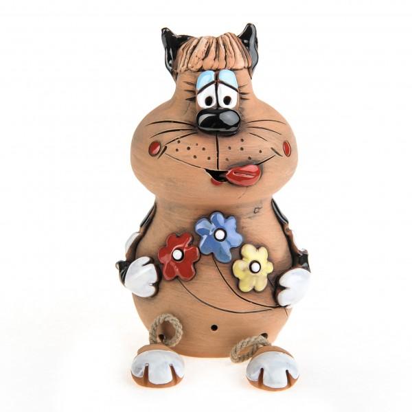 Spardose mit Füssen, Katze mit Blumen – Größe L