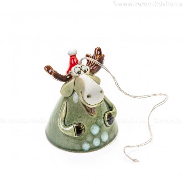 Keramikglocke. Elch mit Weihnachtsmütze. Weihnachtsbaumschmuck