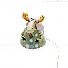 Keramikglocke. Elch mit Stern. Weihnachtsbaumschmuck