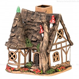 Lichthaus aus Keramik Nr. 22. Altes Forsthaus mit Turm - Teelichthalter, Räucherhaus und Aromalampe