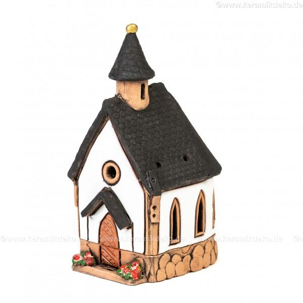 Lichthaus aus Keramik Nr. 30. Dorf-Kirche - Teelichthalter, Räucherhaus und Dekohaus