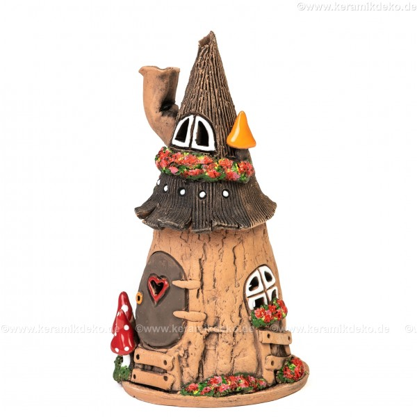 Lichthaus aus Keramik Nr. 31. Kleines Hexenhaus - Teelichthalter, Räucherhaus und Dekohaus
