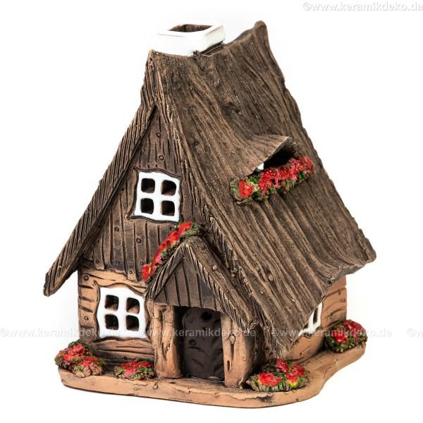 Lichthaus aus Keramik Nr. 32. Holzhaus mit Blumen - Teelichthalter, Räucherhaus und Aromalampe
