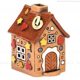 Lichthaus aus Keramik Nr. 34. Lebkuchenhaus Weihnachtsdeko - Teelichthalter, Räucherhaus und Dekohaus