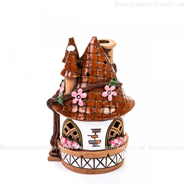 Teelichthaus Nr. 18 - Ovales Haus mit Blumen. Teelichthalter, Duftstövchen und Räucherhaus
