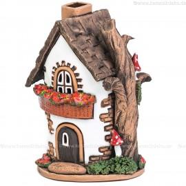 Lichthaus aus Keramik Nr. 25. Rundes Märchenhaus - Teelichthalter, Räucherhaus und Aromalampe