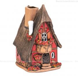 Nr. 27. Fachwerkhaus mit Reetdach - Teelichthalter, Räucherhaus und Aromalampe