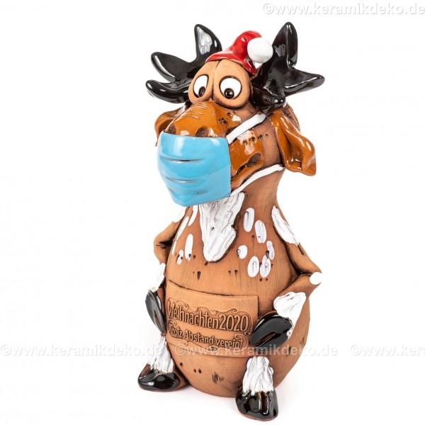 Elch Figur mit Maske, Keramik - Weihnachten 2020 Trotz Abstand vereint