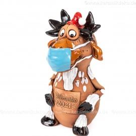 Elch Figur mit Maske, Keramik - Weihnachten 2021