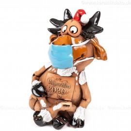 Elch Figur mit Maske im Schneidersitz, Keramik - Weihnachten 2020
