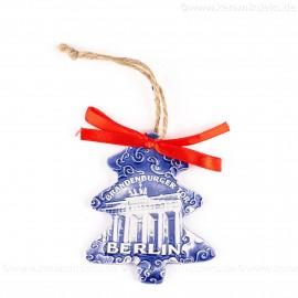 Berlin - Brandenburger Tor - Weihnachtsbaum-Form, blau, handgefertigte Keramik, Weihnachtsbaumschmuck