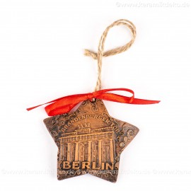 Berlin - Brandenburger Tor - Sternform, braun, handgefertigte Keramik, Christbaumschmuck