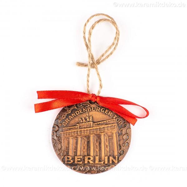 Berlin - Brandenburger Tor - runde form, braun, handgefertigte Keramik, Weihnachtsbaumschmuck