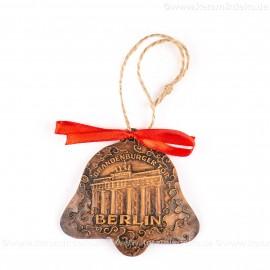 Berlin - Brandenburger Tor - Glockenform, braun, handgefertigte Keramik, Baumschmuck zu Weihnachten