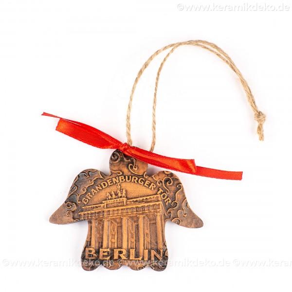 Berlin - Brandenburger Tor - Engelform, braun, handgefertigte Keramik, Weihnachtsbaum-Hänger