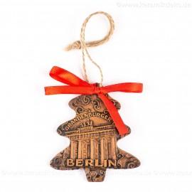 Berlin - Brandenburger Tor - Weihnachtsbaum-form, braun, handgefertigte Keramik, Weihnachtsbaumschmuck