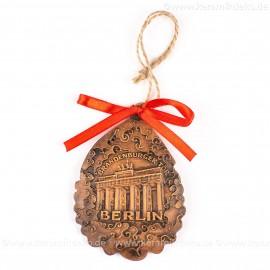 Berlin - Brandenburger Tor - Weihnachtsmann-form, braun, handgefertigte Keramik, Baumschmuck zu Weihnachten
