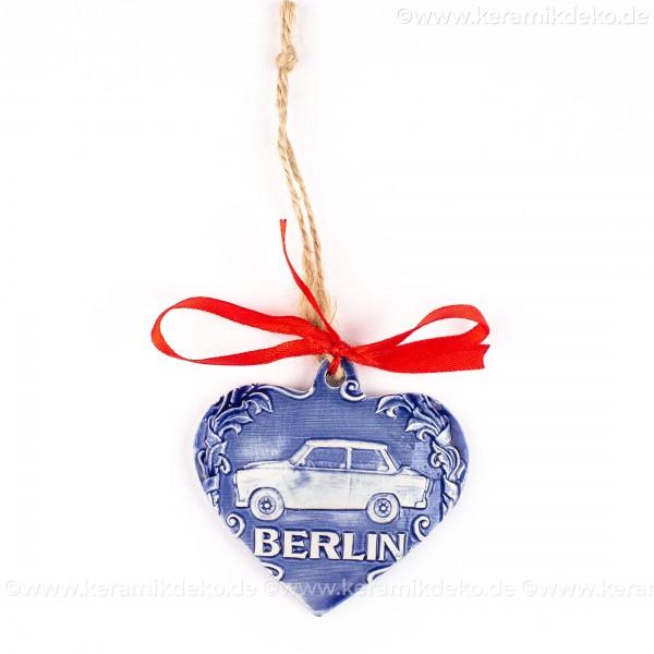 Berlin - Trabant - Herzform, blau, handgefertigte Keramik, Weihnachtsbaum-Hänger