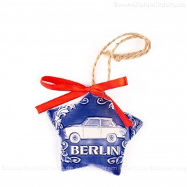 Berlin - Trabant - Sternform, blau, handgefertigte Keramik, Christbaumschmuck