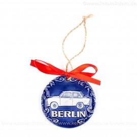 Berlin - Trabant - runde form, blau, handgefertigte Keramik, Weihnachtsbaumschmuck