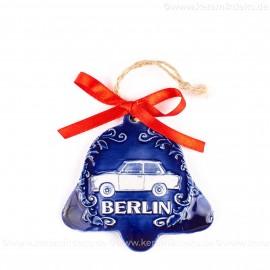 Berlin - Trabant - Glockenform, blau, handgefertigte Keramik, Baumschmuck zu Weihnachten