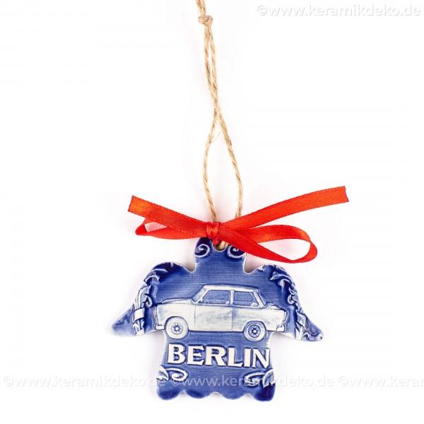 Berlin - Trabant - Engelform, blau, handgefertigte Keramik, Weihnachtsbaum-Hänger
