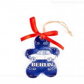 Berlin - Trabant - Keksform, blau, handgefertigte Keramik, Christbaumschmuck