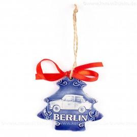 Berlin - Trabant - Weihnachtsbaum-form, blau, handgefertigte Keramik, Weihnachtsbaumschmuck