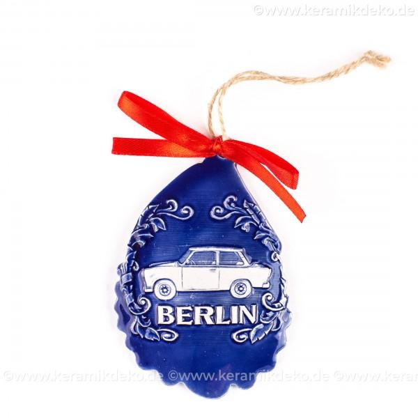 Berlin - Trabant - Weihnachtsmann-form, blau, handgefertigte Keramik, Baumschmuck zu Weihnachten