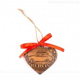 Berlin - Trabant - Herzform, braun, handgefertigte Keramik, Weihnachtsbaum-Hänger